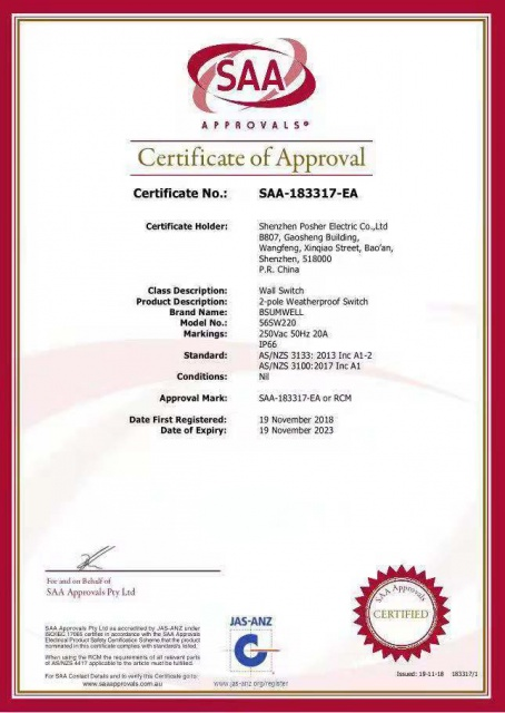 BSUMWELL 56SW332 SAA Certificate