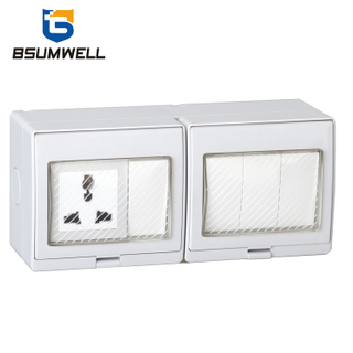 PS-U4S Multi-function Type 10A IP55 Waterproof 4Gang Switch 1Gang Socket